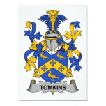 Escudo de la familia de Tomkins Invitación 12,7 X 17,8 Cm