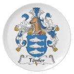 Escudo de la familia de Topfer Platos Para Fiestas