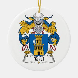 Escudo de la familia de Torel Adorno Navideño Redondo De Cerámica