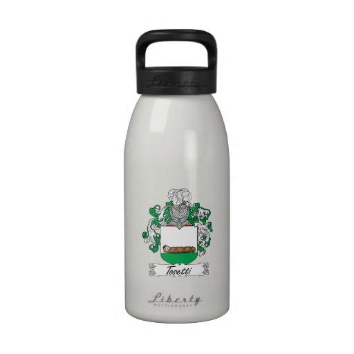 Escudo de la familia de Tosetti Botellas De Agua Reutilizables