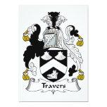 Escudo de la familia de Travers Invitación 12,7 X 17,8 Cm