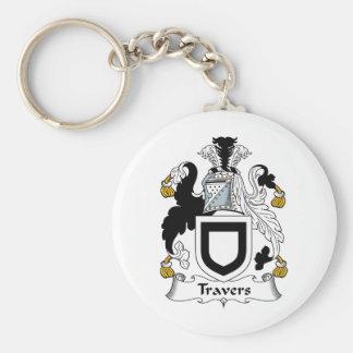 Escudo de la familia de Travers Llavero Redondo Tipo Pin