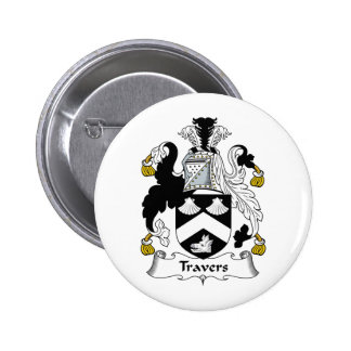 Escudo de la familia de Travers Pin Redondo De 2 Pulgadas