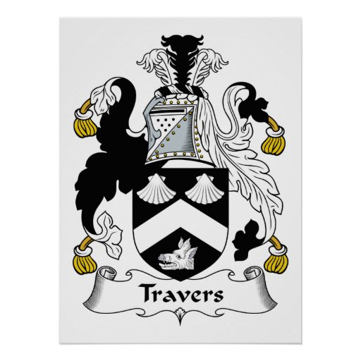 Escudo de la familia de Travers Poster