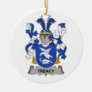 Escudo de la familia de Treacy Adorno Navideño Redondo De Cerámica