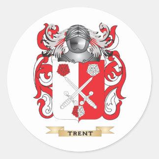 Escudo de la familia de Trent (escudo de armas) Pegatina Redonda