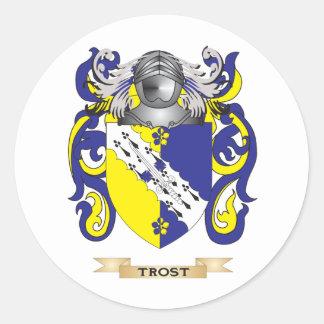 Escudo de la familia de Trost (escudo de armas) Etiquetas Redondas