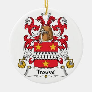 Escudo de la familia de Trouve Adorno Redondo De Cerámica