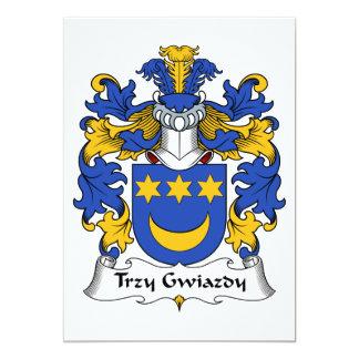 """Escudo de la familia de Trzy Gwiazdy Invitación 5"""" X 7"""""""