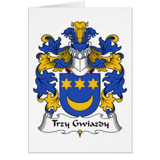 Escudo de la familia de Trzy Gwiazdy Tarjeta De Felicitación