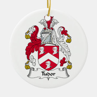 Escudo de la familia de Tudor Adorno Navideño Redondo De Cerámica