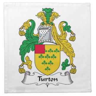 Escudo de la familia de Turton Servilleta Imprimida