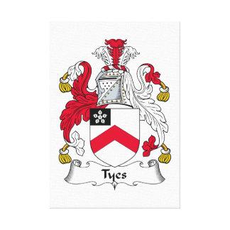 Escudo de la familia de Tyes Impresión En Tela
