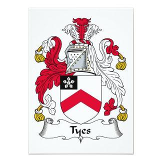 """Escudo de la familia de Tyes Invitación 5"""" X 7"""""""