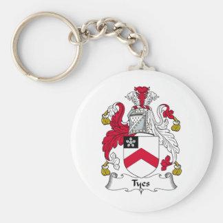 Escudo de la familia de Tyes Llavero Redondo Tipo Pin