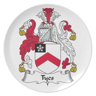 Escudo de la familia de Tyes Plato Para Fiesta
