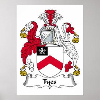 Escudo de la familia de Tyes Póster