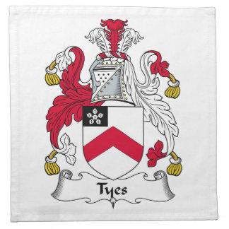 Escudo de la familia de Tyes Servilleta De Papel