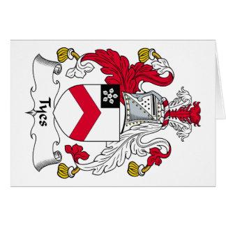 Escudo de la familia de Tyes Tarjeta De Felicitación