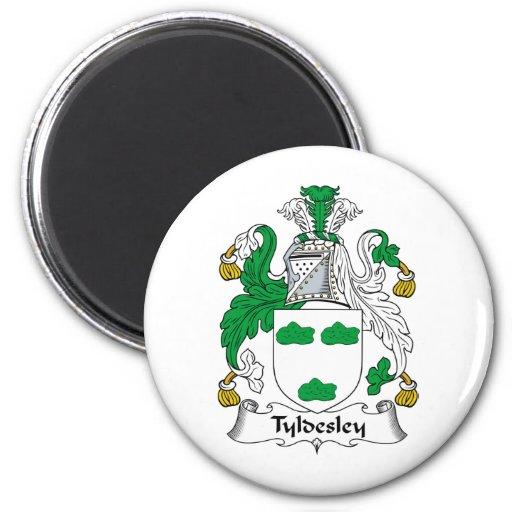 Escudo de la familia de Tyldesley Imán Redondo 5 Cm