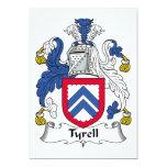 Escudo de la familia de Tyrell Invitación 12,7 X 17,8 Cm