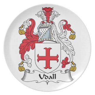 Escudo de la familia de Udall Platos Para Fiestas