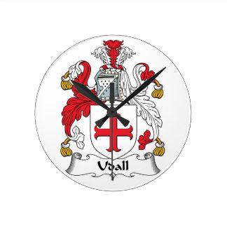 Escudo de la familia de Udall Relojes De Pared