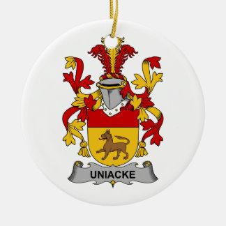 Escudo de la familia de Uniacke Adorno Navideño Redondo De Cerámica