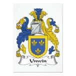 Escudo de la familia de Unwin Invitación 12,7 X 17,8 Cm