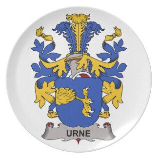 Escudo de la familia de Urne Plato Para Fiesta