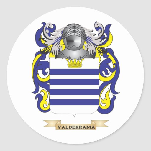Escudo de la familia de Valderrama (escudo de Pegatinas Redondas