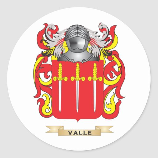 Escudo de la familia de Valle (escudo de armas) Pegatina Redonda