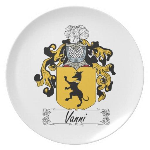 Escudo de la familia de Vanni Platos De Comidas