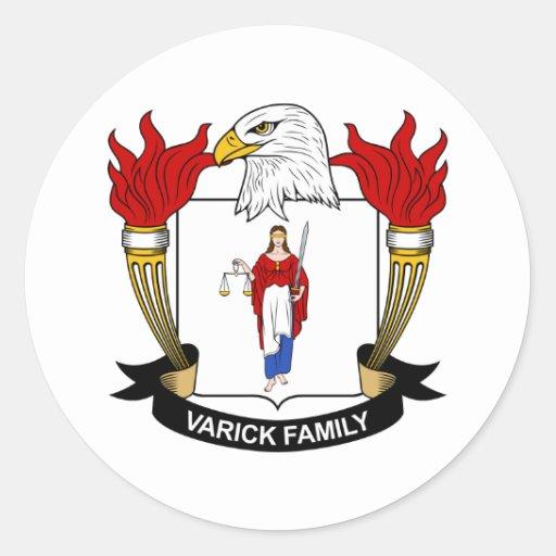 Escudo de la familia de Varick Pegatina Redonda