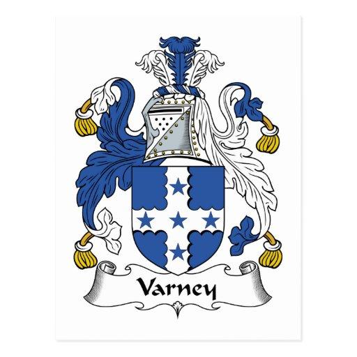 Escudo de la familia de Varney Tarjetas Postales