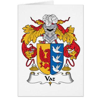 Escudo de la familia de Vaz Tarjeta De Felicitación