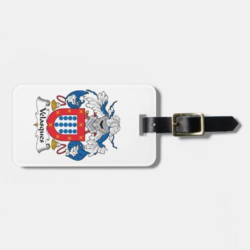 Escudo de la familia de Velasques Etiqueta De Equipaje