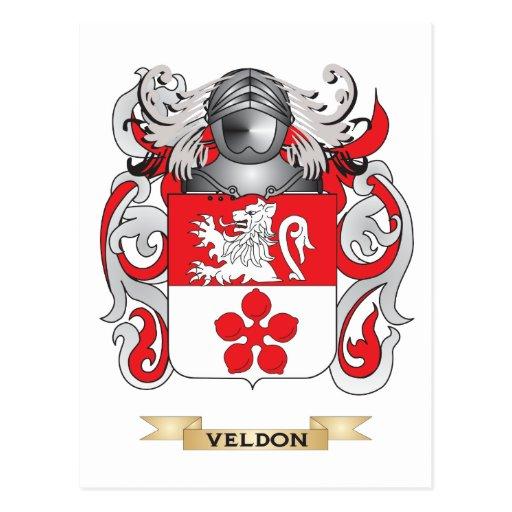 Escudo de la familia de Veldon (escudo de armas) Postal