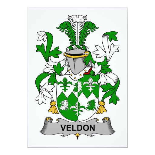 "Escudo de la familia de Veldon Invitación 5"" X 7"""
