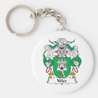 Escudo de la familia de Velez Llavero Redondo Tipo Pin