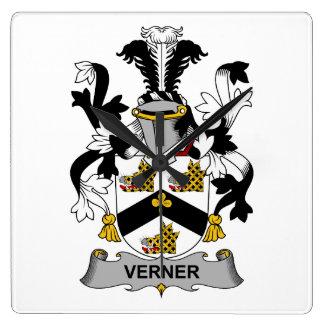 Escudo de la familia de Verner Reloj Cuadrado