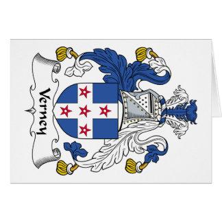 Escudo de la familia de Verney Tarjeta De Felicitación