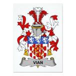 Escudo de la familia de Vian Invitación 12,7 X 17,8 Cm