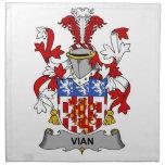 Escudo de la familia de Vian Servilleta Imprimida