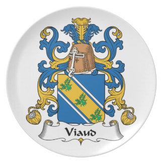 Escudo de la familia de Viaud Plato Para Fiesta