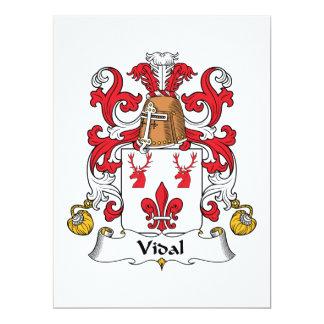 Escudo de la familia de Vidal Invitación 16,5 X 22,2 Cm