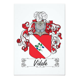 Escudo de la familia de Vidale Invitación 12,7 X 17,8 Cm