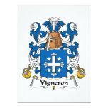 Escudo de la familia de Vigneron Invitación 16,5 X 22,2 Cm