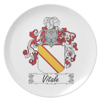 Escudo de la familia de Vitale Platos Para Fiestas