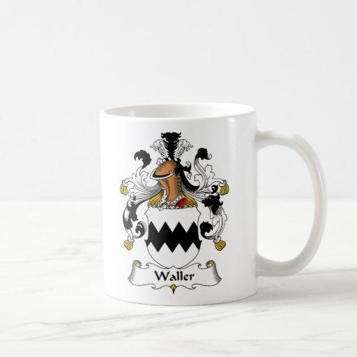 Escudo de la familia de Waller Taza Básica Blanca